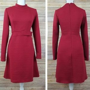 Anthropologie Red Wine Dress Long Sleeve Stretchy